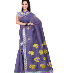 Buy Violet embroidered cotton saree with blouse cotton-saree online