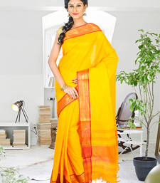 Clementine hand_woven Cotton saree with blouse shop online