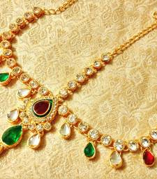 Buy Royal Wedding Jewelry kundan Mathapatti Maang Tikka maang-tikka online