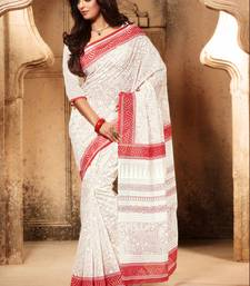 Buy Red and White printed cotton saree with blouse cotton-saree online