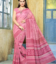 Buy Red andPinkish printed cotton saree with blouse cotton-saree online
