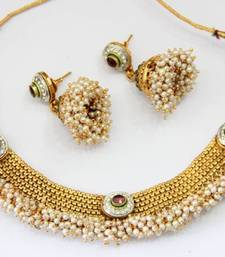 Buy ANTIQUE GOLDEN RED N GREEN PEARLS NECKLACE SET Necklace online