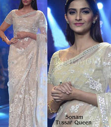 Buy Sonam Kapoor White embroidered NET saree with blouse sonam-kapoor-saree online