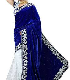 Blue and White embroidered velvet saree With Blouse shop online