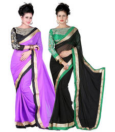 Buy Purple and Black embroidered chiffon saree with blouse chiffon-saree online