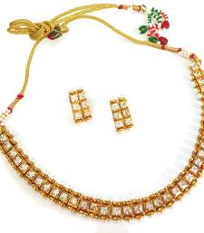 Buy Attractive single line golden necklace set mangalsutra online