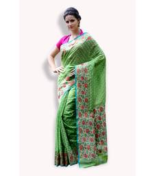 Buy Green woven organza saree with blouse banarasi-silk-saree online