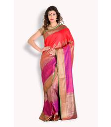 Buy Multicolor woven silk saree with blouse banarasi-silk-saree online