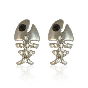 Buy silver fish bone stud earring online for Fish bone earrings