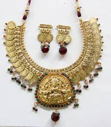 Buy ANTIQUE GOLDEN RED N GREEN STONES TEMPLE JEWELLERY COIN NECKLACE SET Necklace online