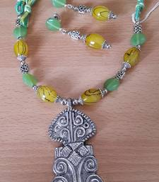 Buy Green Yellow Thread Set with GS Oxidized Pendant necklace-set online