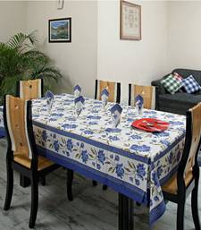 Buy Exquisite Royal Blue White floral Gold print Table cover set table-cloth online