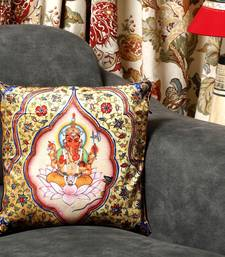 Buy Golden Velvet Cushion with Ekadanta Ganapati Print pillow-cover online