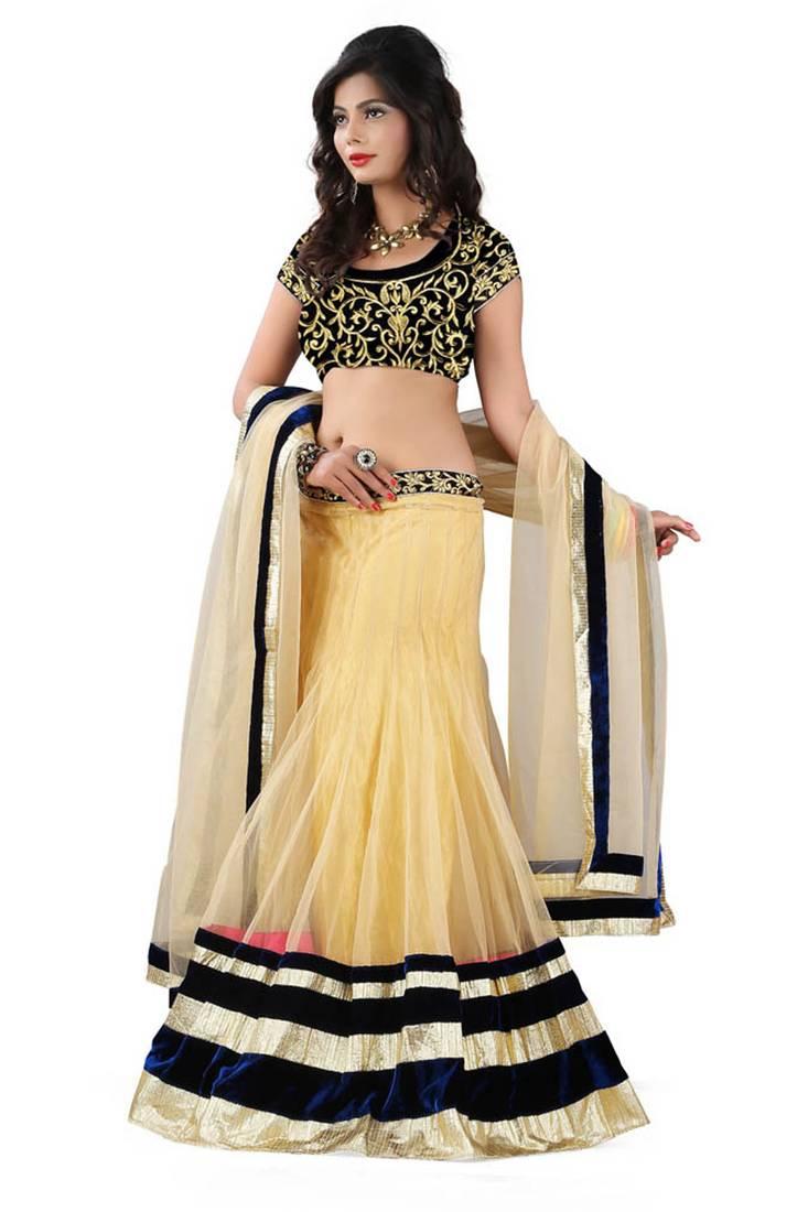 Buy Cream Embroidery Net Unstitched Navratri Lehenga