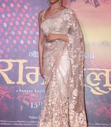 Buy Cream embroidered net saree with blouse deepika-padukone-saree online