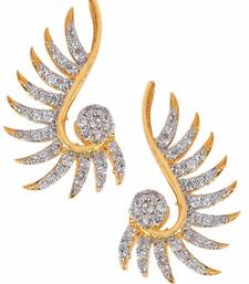 Buy Daily Wear Wild Flower 18K Gold Plated American Diamond Stud Earring for Women stud online