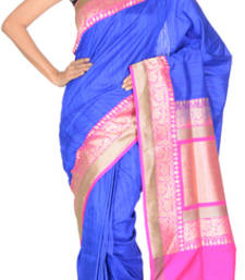 Buy Royal Blue  and  Indian Pink (Rani ) hand_woven silk saree with blouse tussar-silk-saree online