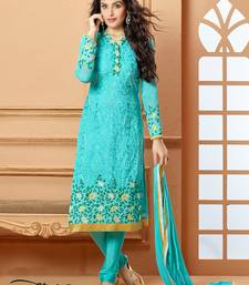 Buy sky blue embroidered chiffon  semi stitched salwar with dupatta party-wear-salwar-kameez online