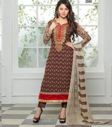 Buy Brown embroidered georgette semi stitched salwar with dupatta salwars-and-churidar online