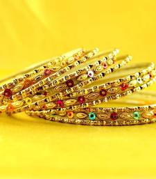 Buy multi coulour brass rajasthani bangle size-2.6,2.8 bangles-and-bracelet online