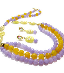 Buy Lilac & Yellow Agate & Kundan Necklace & Earring necklace-set online