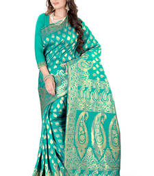 Buy Turquoise plain art_silk saree with blouse banarasi-silk-saree online