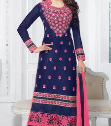 Buy Styles Closet Navy blue embroidered georgette semi stitched salwar with dupatta collar-neck-design online