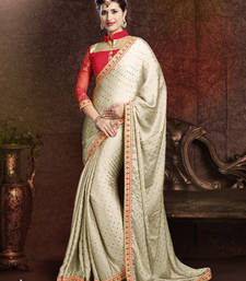 Buy Beige embroidered Plain saree with blouse satin-saree online