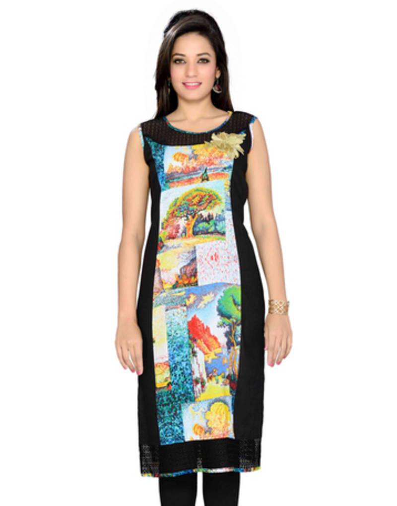 Buy Black Embroidered Georgette Kurtasandkurtis Online