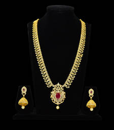 Buy ruby cz traditional long necklace set real look necklace-set online