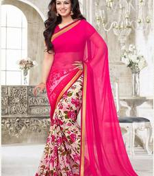 Buy Pink Printed Chiffon saree with blouse printed-saree online