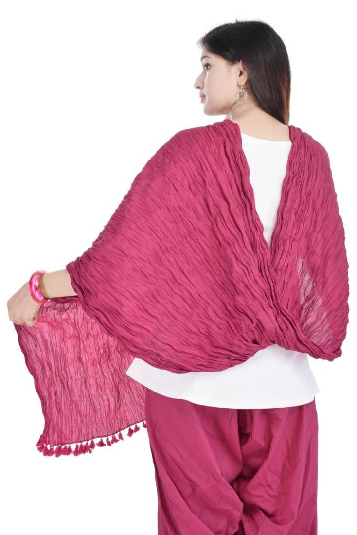 Buy Solid Pink And Maroon Cotton Dupatta Combo Online
