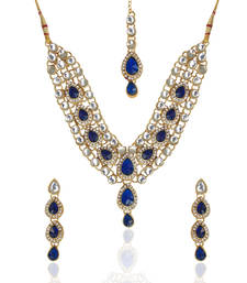 Buy Ethnic Indian Jewelry Bollywood Deep Blue Kundan Like Work Necklace Set MW54 necklace-set online