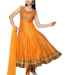 Buy Orange embroidered art_silk readymade-suit online