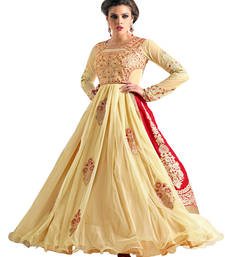 Buy Glamourous Heavy Net Embroidered Beige & Red Coloured Gowns party-wear-gown online
