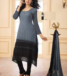 Grey embroidered Georgette semi stitched salwar with dupatta shop online