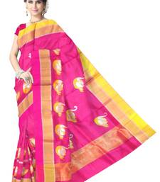 Buy Pink Handwoven Pure Silk Chanderi Saree with Blouse chanderi-saree online