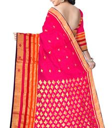Buy Pink Handwoven Silk Cotton Chanderi Saree with Blouse chanderi-saree online