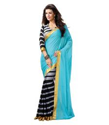 Buy Black and  blue printed art silk saree with blouse other-actress-saree online
