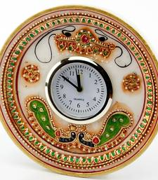 Buy Marvel In Marble - Gold Embossed Round Alarm Clock With Kundan Work_53 other-home-accessory online