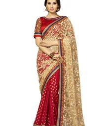 Buy Pleasing Beige and Maroon Color Net saree with blouse birthday-gift online