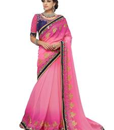 Buy Incredible Pink Color Georgette saree with blouse birthday-gift online