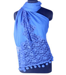 Buy Hand-made Dazzling Blue Coloured Pashmina Blend Shawl shawl online