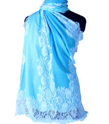 Buy Hand-made Aquamarine, Turquoise and Teal Coloured Pashmina Blend with Lace Shawl shawl online