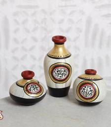 Buy Miniature Terracotta floral vases with Warli paint in set of 3 other-home-accessory online
