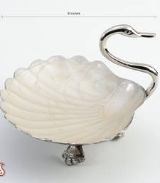 Buy Handcrafted Silver Plated Brass Swan Bowl with enamel work tray online
