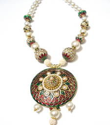 Buy Meenakari Pearl Jadau Set necklace-set online