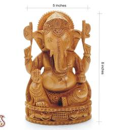 Buy Pure White wood Hand Carved Ganesh Murthi other-home-accessory online