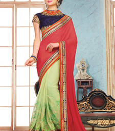 Buy Red  and  Green embroidered georgette saree with blouse party-wear-saree online