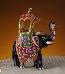 Buy Enamelled Metal Royal Elephant with Hand Painted Howdah anniversary-gift online